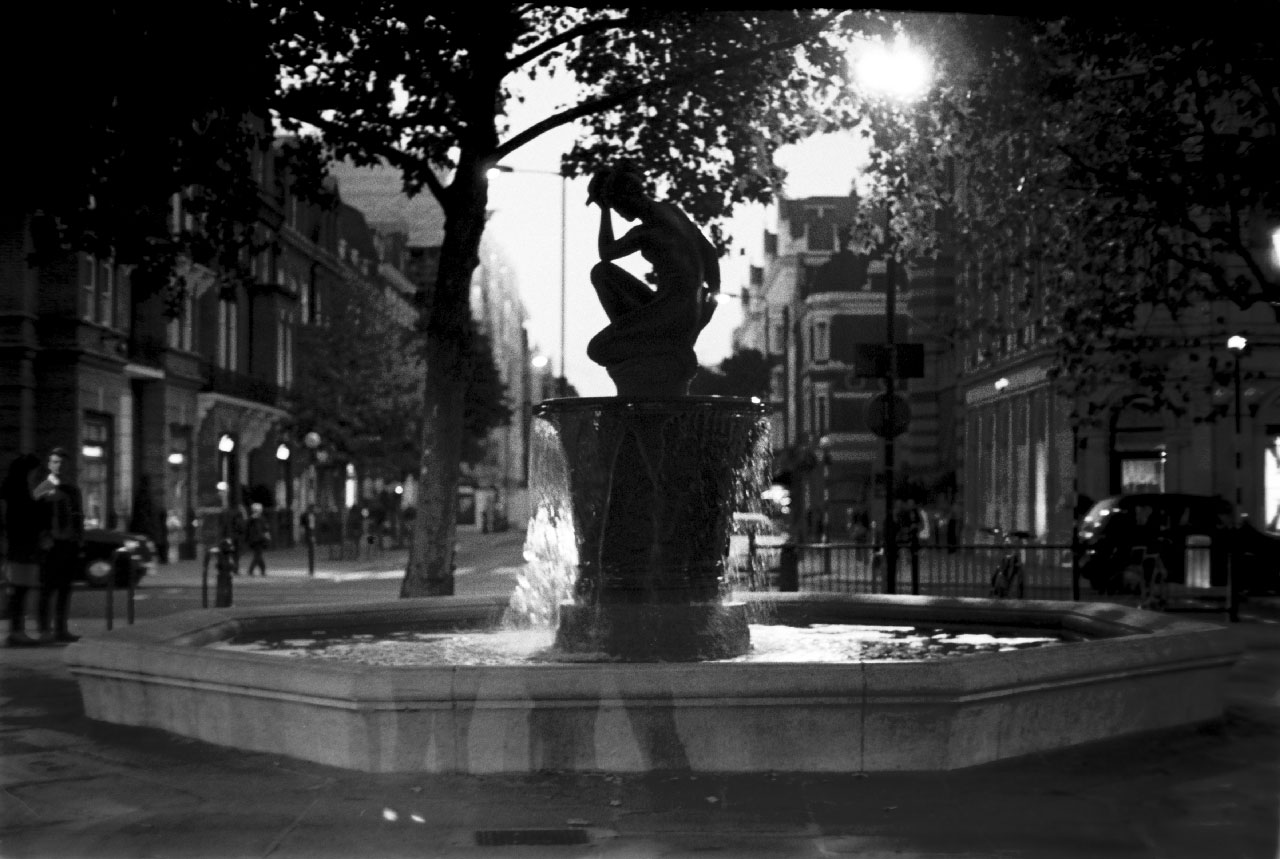 Fountain lady silhouette